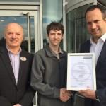 Hilton Garden Inn Hotel Glasgow Facilities Services Modern Apprentice awarded certificate